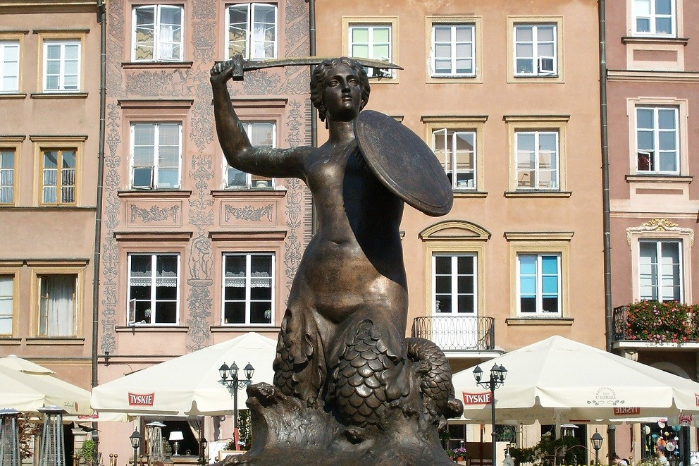 The Mermaid Monument in Warsaw (Old Town)